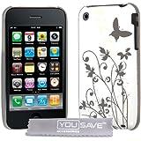 Yousave Accessories Schutzhülle aus IMD Butterfly Hard Hybrid Back Cover Case für Apple iPhone 3G/3GS–Weiß/Silber
