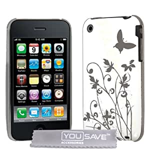 Yousave Accessories IMD Butterfly Hard Hybrid Back Cover Case for Apple iPhone 3G/3GS - White/Silver