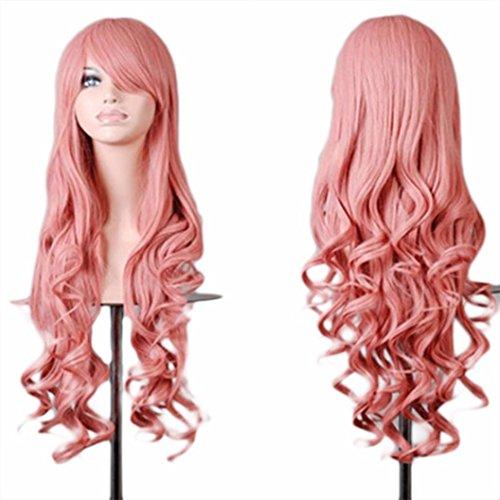 Tianya 1pc Frauen Lang Gewellt lockiges Haar Perücken Hitzebeständig Anime Cosplay Party Full Perücken mit Fransen, rose, Länge: 80 (Lange Pink Perücke Neon)