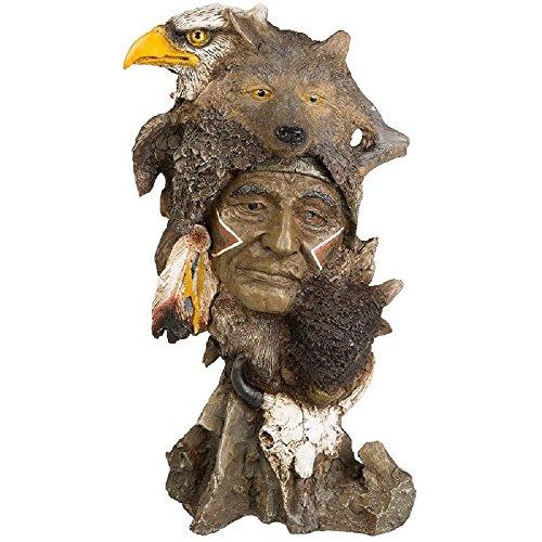 Indianer Krieger Figur mit Wolf Bison Adler Skull Büste Western Deko Wildwest Indianer Büste