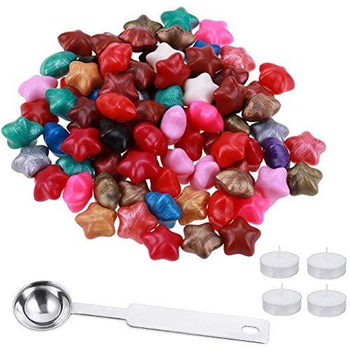 Siegelwachsperlen mit Aufbewahrungsbox, 90 Stück Sternform, Wachssiegel Perlen mit 2 Stück Teekerzen und 1 Stück Griff Wachs Schmelzlöffel für Wachssiegel Stempel