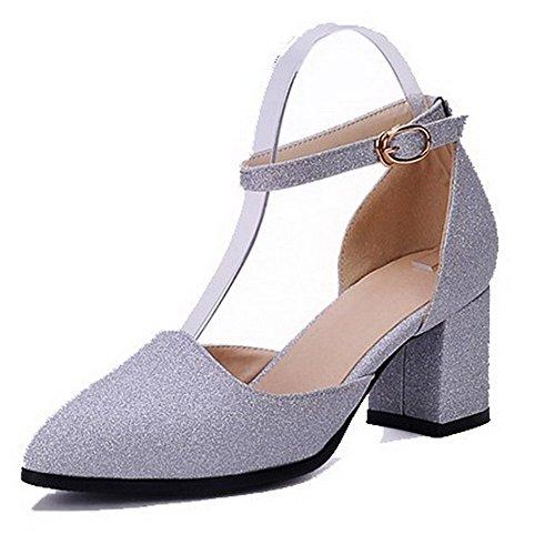 AllhqFashion Femme Boucle Pointu à Talon Correct Tissu à Paillette Chaussures Légeres Argent