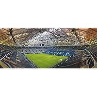 Blue-Letter Gelsenkirchen Stadion Panorama - Hochwertiger FineArtPrint (120 cm x 50 cm)