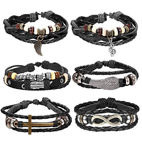 Finrezio Unendlichkeitszeichen Armbänder aus Geflochtene Leder für Herren Damen Stil Punk Vintage Kreuz Armband Feder Schwarz