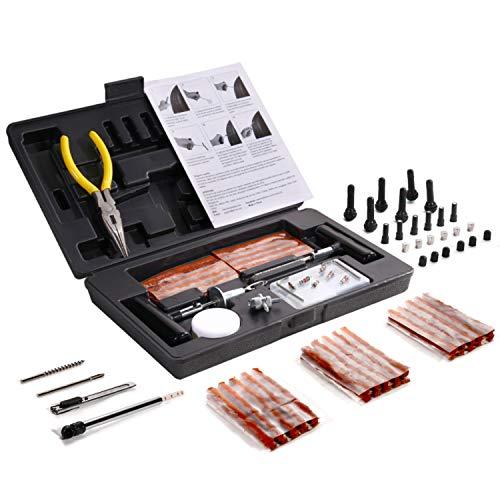Kit per 93pcs Riparazione Pneumatici, TECCPO Professional Kit di Riparazione, per la Riparazione di Forature per Pneumatici con Valigia Nera - THTC04H