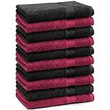Betz Paquete de 10 piezas de toallas para invitados Juego de toalla de lavabo 100% algodón tamaño 30x50 cm toalla de mano PREMIUM de color rojo oscuro y negro