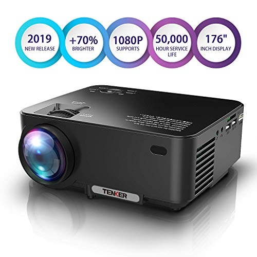 Proiettore TENKER migliorato, 70% più luminoso, Mini proiettore di film Home Theatre, display LCD da 4,0', supporta 1080 P HDMI / USB / scheda SD / AV / VGA TV / portatili / giochi