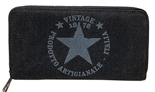 Geldbörse Canvas Stoff Vintage Star Portemonnaie Stern Damen Luxus Fashion Brieftasche mit Reißverschluss (Schwarz)