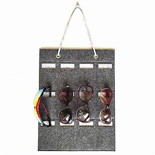 cuffslee 12 Slots Aufbewahrungstasche Sonnenbrille Organizer Brille Display Organizer Sonnenbrille Filz Wandbehang Tasche