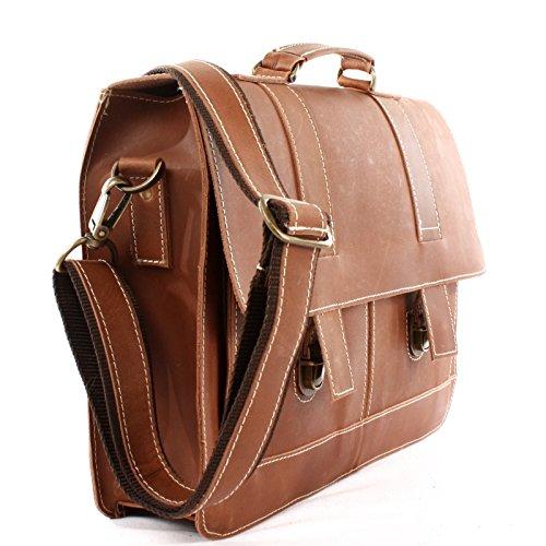 LECONI Messenger Bag Aktentasche DIN A4 Collegetasche für Damen & Herren Ledertasche Büffelleder Arbeitstasche aus Leder 37x30x10cm LE3039 braun