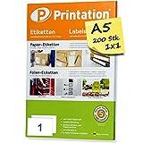 Printation 8690 - Etichette autoadesive per indirizzi, su fogli formato A5, 200 pz, 210 x 148,5 mm, colore: bianco