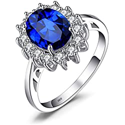 JewelryPalace Princesse Diana William Kate Middleton's 2.8 ct Bleu Saphir de Synthèse Bague de Fiançailles en Argent 925
