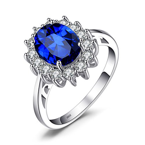JewelryPalace 925 plata Anillo zafiro oval
