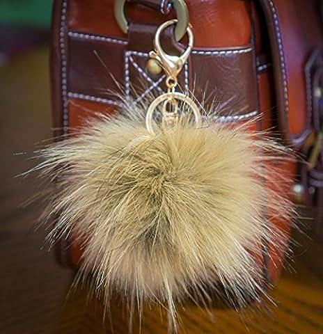 Lot de 3, 12cm Grand, fourrure pelucheuse de Puschel raton laveur Look, avec porte-clés Doré