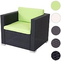 Canapé / fauteuil modulaire ROM Basic, polyrotin, aluminium ~ anthracite, coussin vert