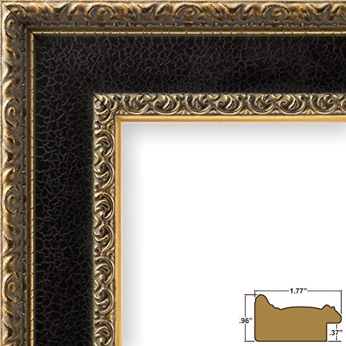 craig-frames-9599-24-by-24-inch-picture-frame-distressed-ornate-finish-175-inch-wide-black-and-gold-