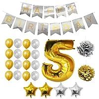 Set Palloncini 5° Compleanno da Belle Vous   Questo set di palloncini per compleanno trasformeranno una normale festa di compleanno in quella del secolo; con ben 24 pezzi potrai essere sicuro di organizzare l'evento più memorabile dell'anno!...