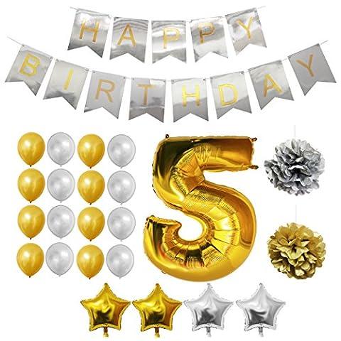 5. Geburtstag Luftballons Happy Birthday Folienballons Party Zubehör Set & Dekorationen von Belle Vous - Folienballons für den 5. Geburtstag - Gold & Silber Latex-Ballon-Dekoration - Dekor für alle Kinder geeignet
