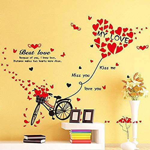 Aufkleber Der Wand 3Dwandaufkleber Aufkleber Liebe Liebes Ballon Fahrrad Valentinstag Atmosphäre Dekorationen Dress Up Layout Raum Wand