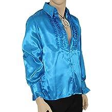 Schlagerstar Rüschenhemd blau