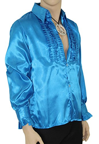 Abba Kostüm Männer - Foxxeo Blaues Rüschenhemd für Herren 70er Jahre Disco Hemd Fasching Karneval Motto-Party blau, Größe M