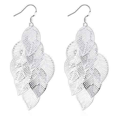 6a85fe8a7 Debanger Charming Elegant Filigree Drop Earrings Silver Plated Stud Tree  Leafs Pendant Dangle Hook Earring Hypoallergenic