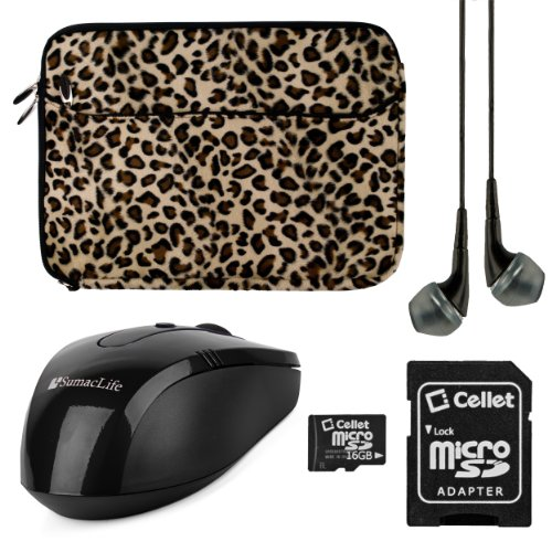 Vangoddy Brown Leopard VanGoddy Neoprene Sleeve for Toshiba 15.6-inch Laptops + Black Headphones + 64GB Memory Card + USB Mouse