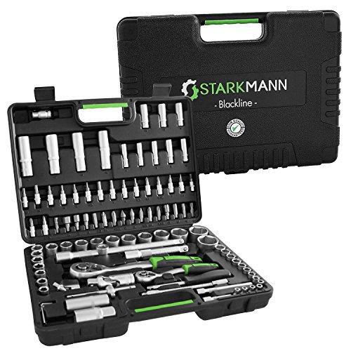 STARKMANN Blackline 94 teiliger Steckschlüssel-Satz Ratschenkasten Werkzeug-Kasten