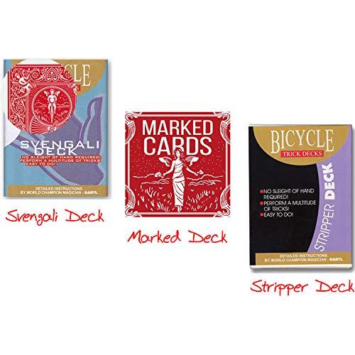 Kartentrick Zauberkasten für Anfänger inkl. Bicycle Svengali Deck + Stripper Deck + Marked Deck, Deutschsprachige Anleitungen + Video-Instruktionen für das Svengali Deck Zauberartikel Trickkartenspiel