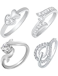 Mahi Rhodium Plated Combo Of Four Finger Rings With Swarovski Zirconia & CZ For Women CO1104618R