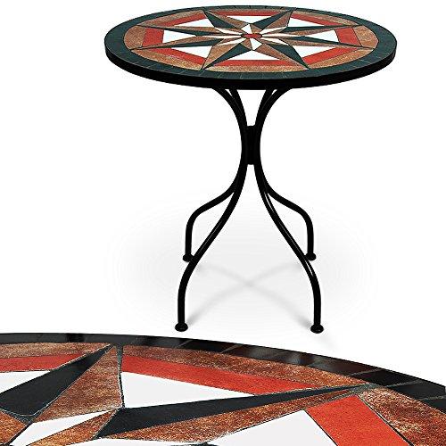 Table en pierre de mosaïque Ø 60cm 4 pieds - Intérieur extérieur - Jardin salon