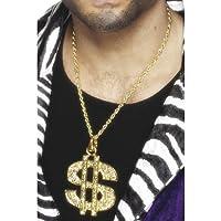 Smiffys Herren Dollar Zeichen Medaillon, Kette, One Size, Gold, 26397