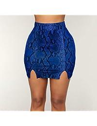 QZBTU Faldas Mujer Falda De Lápiz De Piel De Mujer Falda Alta Dividida  Minifalda 255bbbd9da88