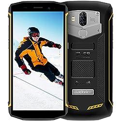 Blackview BV5800 - Movil Antigolpes (5.5 Pulgadas 18: 9 FHD, 2GB RAM + 16GB ROM, 13MP + 8MP Cámara, Smartphone Android 8.1 Oreo, Batería 5580 mAh, Dual LTE 4G, NFC, OTG, GPS) Amarillo