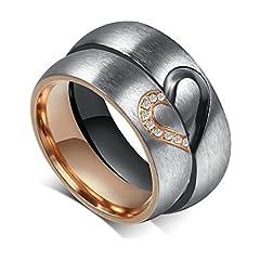 Idea Regalo - Gnzoe Gioielli Acciaio inossidabile Anello Cuore Anello Promessa Anello Valentino Coppie di Amore Matrimonio Fidanzamento