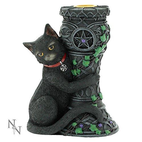 Midnight porta candela Statuetta a forma di gatto da strega 15cm