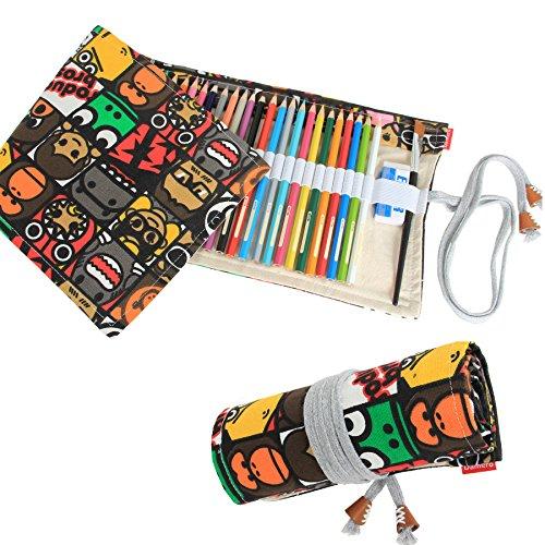 Damero Tela matita Wrap caso, matite Sospensione bobina per 72 matite colorate (NO matite inclusi), Fumetto Ritratto, 72 Fori