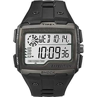 Timex Grid Shock – Reloj digital con correa de resina para hombre, color negro/LCD