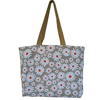 """Strandtasche/Einkaufstasche / Freizeittasche"""" Gänseblümchen"""" – 48x35x10cm – 100% Baumwolle – geeignet für die Waschmaschine – Handgefertigt in Barcelona"""