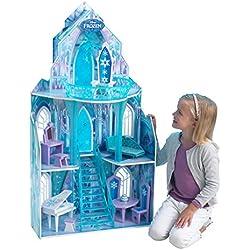 KidKraft 65881 Maison de poupées en bois Disney Château la Reine des Neiges incluant accessoires et mobilier, 3 étages de jeu pour poupées 30 cm