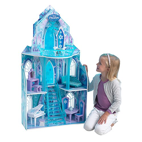 Kidkraft 65881 Disney� Ice Castle Dollhouse.  A Disney�s Frozen wooden dolls house standing nearly four feet tall and offers three floors, including a 11-piece accessory pack, with hand-painted furniture to fit Anna, Elsa, Olaf, Sven & Kristoff and 12-inc