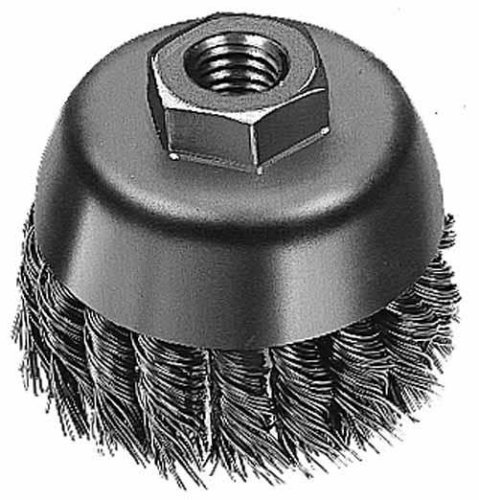 Weiler Steel Cup Brush - Threaded Arbor Attachment - 3 1/2 in Dia M14 x 2 Center Hole - 0.023 in Bristle Dia & 13000 Max RPM - 13152 [PRICE is per BRUSH] by Weiler -