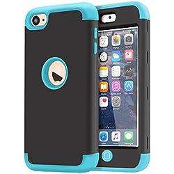 Dailylux iPod Touch 7 Coque,iPod Touch 6 Coque,iPod Touch 5 Coque Silicone Resistant aux Chocs Anti-Impact Housse Etui de Protection pour iPod Touch 5/6/7 Generation-Black+Blue