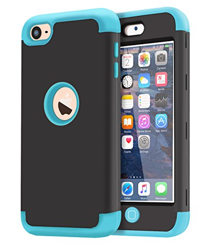 Dailylux iPod Touch 6 Coque, iPod Touch 5 Coque anti silicone resistant aux chocs anti-impact Housse Etui de Protection pour Apple iPod Touch 5/6 Generation-Black+Blue