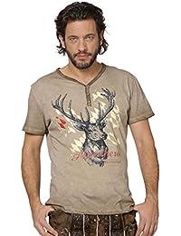 Trachten T-Shirt Feli - sensationelle Herren Trachtenmode, individuelles Trachtenshirt mit auffälligem Hirschmotiv, ein Shirt der Extraklasse für modebewusste Männer mit Tradition im Farbton Sand