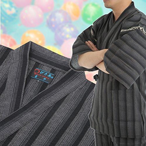 Edoten Japanischer Kimono Jinbei Gray Stripe