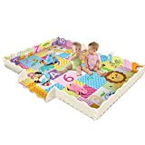lulalula Baby Play Mat with Fence 2cm Super Thick Interlocking Foam Floor Tiles Extra Large Crawling Mat with Lion King Patterns, Playroom Nursery Puzzle Mat for Infants Toddlers and Kids