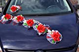 Autoschmuck AUTODEKO Braut Rosen Deko Schleife Rot Rosa Hochzeit Girlande LA001