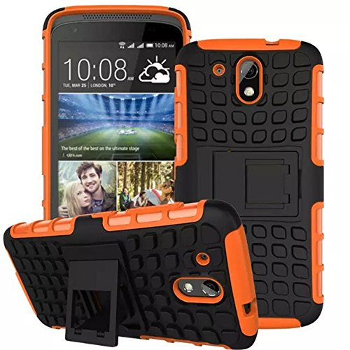 Heartly Flip Kick Stand Spider Hard Dual Rugged Armor Hybrid Bumper Back Case Cover For HTC Desire 526G Plus 526G+ Dual Sim - Mobile Orange