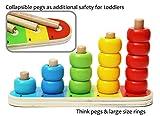 Toys of Wood Oxford stapelturm Holz Baby - stapelringe Holz mit 15 Ringe - holzspielzeug 1 Jahre